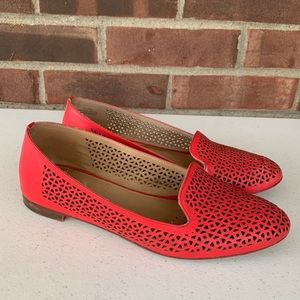 J. Crew red leather cut out slip on flats loafers